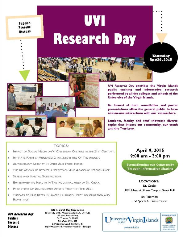 UVI Research Day Flyer- April 9, 2015 Albert A Sheen and St Thomas Campuses