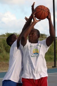 Hall Playing basketball
