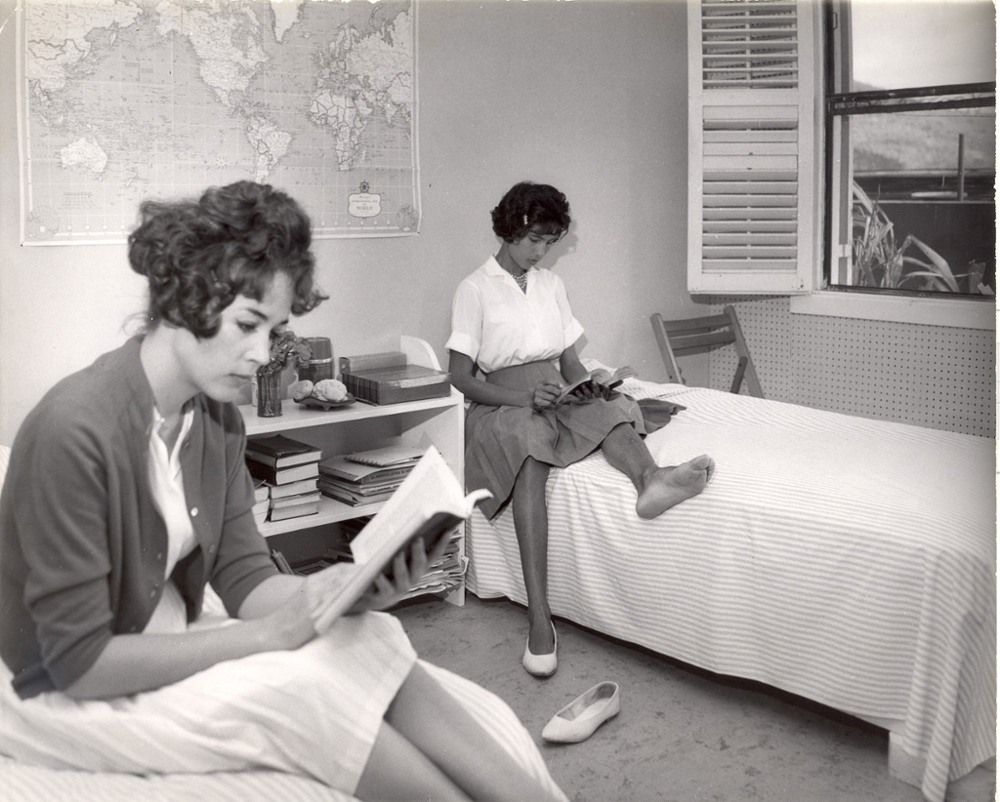 Students studying in the old CVI dorms