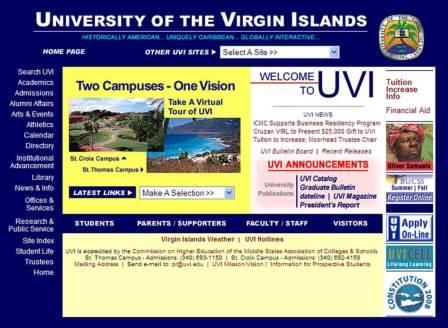 UVI website coded in HTML 1.0