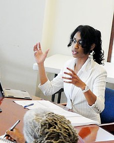 President Marsha Laurencin during a meeting