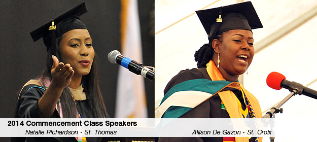 Photo of 2014 Commencement Student Speakers Natalie Richardson on St. Thomas and Allison De Gazon on St. Croix