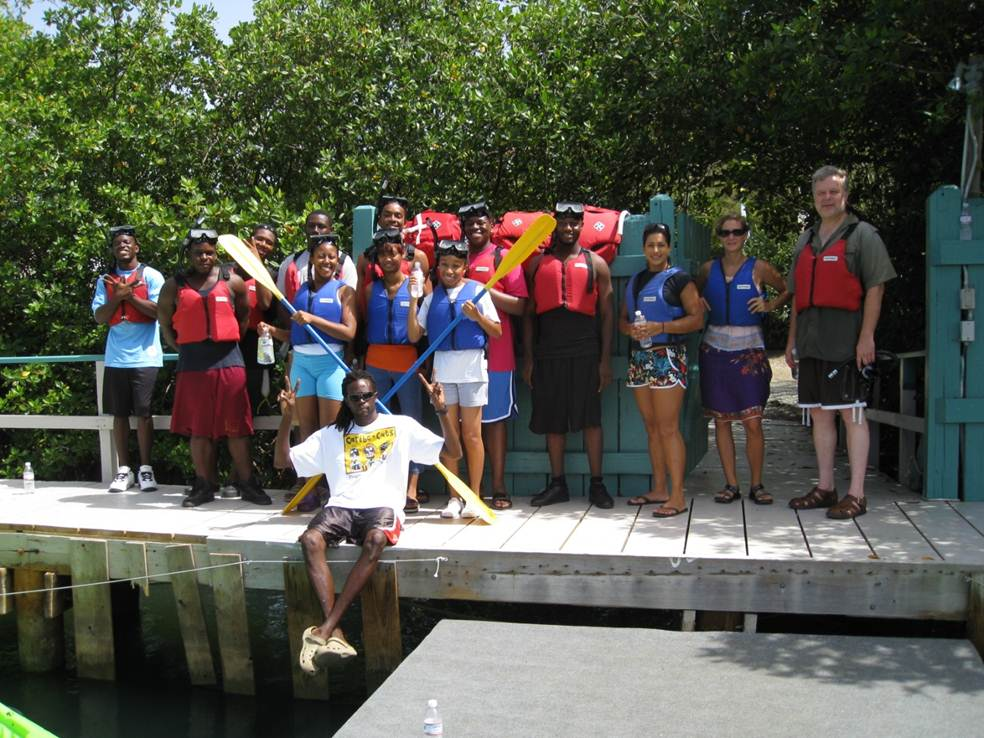 MBS students at pier during kayak trip