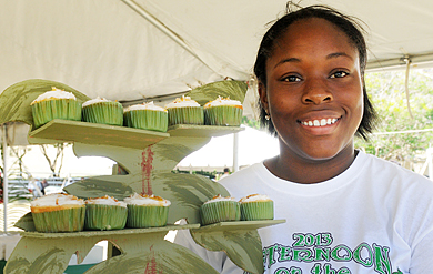 Brianna Hairston received the People's Choice award for her Tropical Cupcakes at Afternoon on the Green 2013.