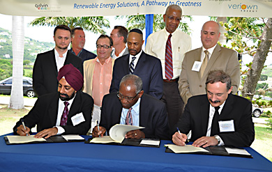 University of the Virgin Islands and New Generation Power solar signing ceremony