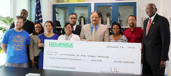 HOVENSA donates $100,000 to UVI Scholarship Fund