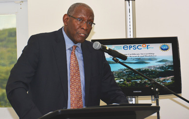 UVI President Dr. David Hall makes remarks at the VI-EPSCoR Award Announcement.
