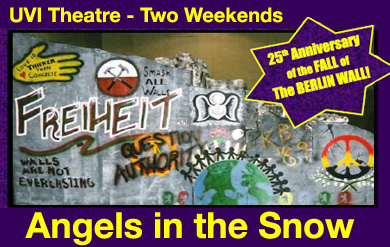 graphic for UVI Theatre production - Angels in the Snow