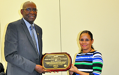 Nereida Washington, UVI director of Campus Operations on the Albert A. Sheen Campus of St. Croix and her entire staff were recognized for renovating, improving and enhancing the offices of the faculty on the Sheen Campus.