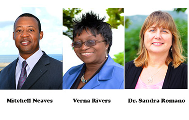 Mitchell Neaves,vice president for Institutional Advancement, Verna Rivers, dean of students on the St. Thomas Campus and Dr. Sandra L. Romano, dean for the College of Science and Mathematics.