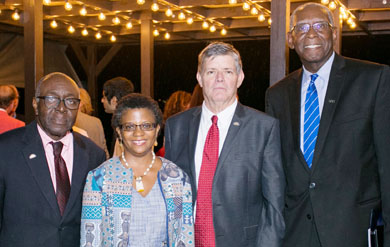 UVI Research and Technology Park Board of Directors Chairman Edward Thomas, RTPark Executive Director Gillian Marcelle, UVI Board of Trustees Chairman Henry Smock and UVI President David Hall at the RTPark Stakeholder Reception on the St. Thomas Campus.