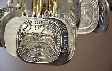 Image of UVI medallion given to new students at convocation ceremonies.
