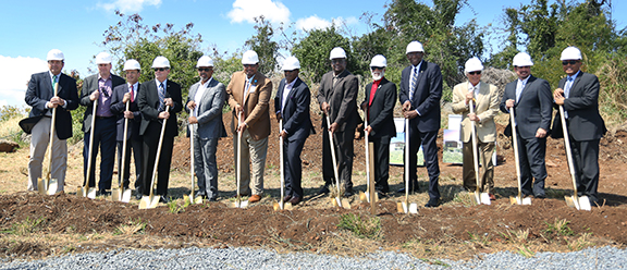 UVI and Community officials pose for photo at SOM groundbreaking ceremony
