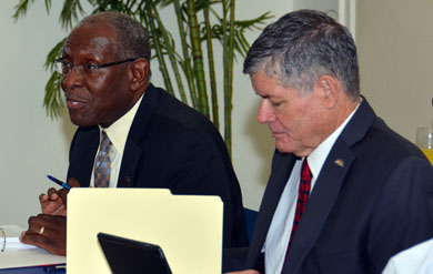 UVI President David Hall and Board Chair Henry Smock