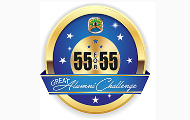UVI's Logo for the Alumni 55 for 55 Challenge