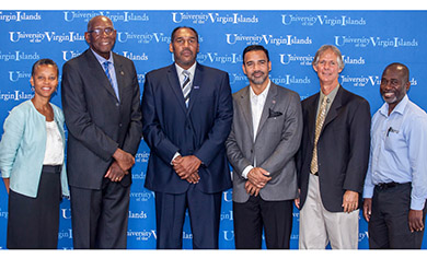 UVI Provost Dr. Camille McKayle, UVI President David Hall, Basketball Coach Jeff Jones , Athletic Director Wilberto Ramos,  UVI Soccer Coach Charles Long, and Track and Field Coach  Dale Joseph pose for a photo.