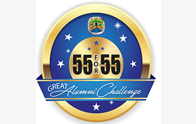 55 for 55 alumni logo