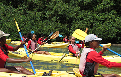 students canoe