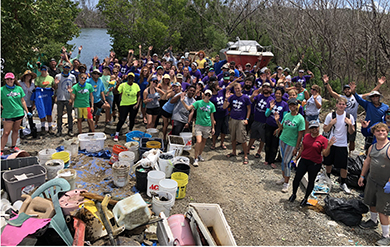Volunteers gather for the Great Mangrove Cleanup in Estate Nadir on April 21, 2018.
