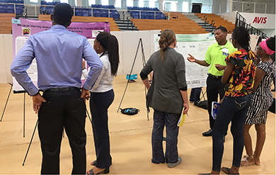 UVI student discuss their research at the Fall Research Symposium.