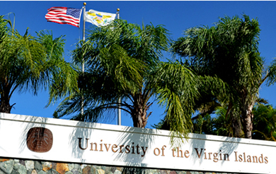 Signage of the University of the Virgin Islands Campus on St. Thomas