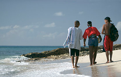Students Take a Walk on the Beach after Class Studies.