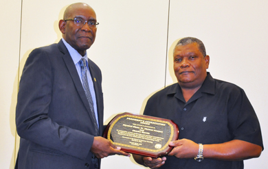 UVI Director of Physical Plant Charles Martin and the Physical Plant Staff received the Presidents Appreciation award for the renovation of the Social Sciences Building.