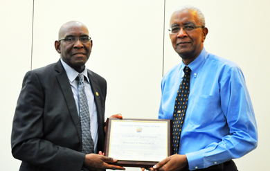 UVI Board of Trustees Chairman Alexander Moorhead was awarded a certificate of appreciation for providing outstanding leadership past 18 years to the University of the Virgin Islands through service and contributions for the Board of Trustees, the Foundation for the University of the Virgin Islands, the Virgin Islands Educational and Cultural Award Endowment and the UVI Research and Technology Park.